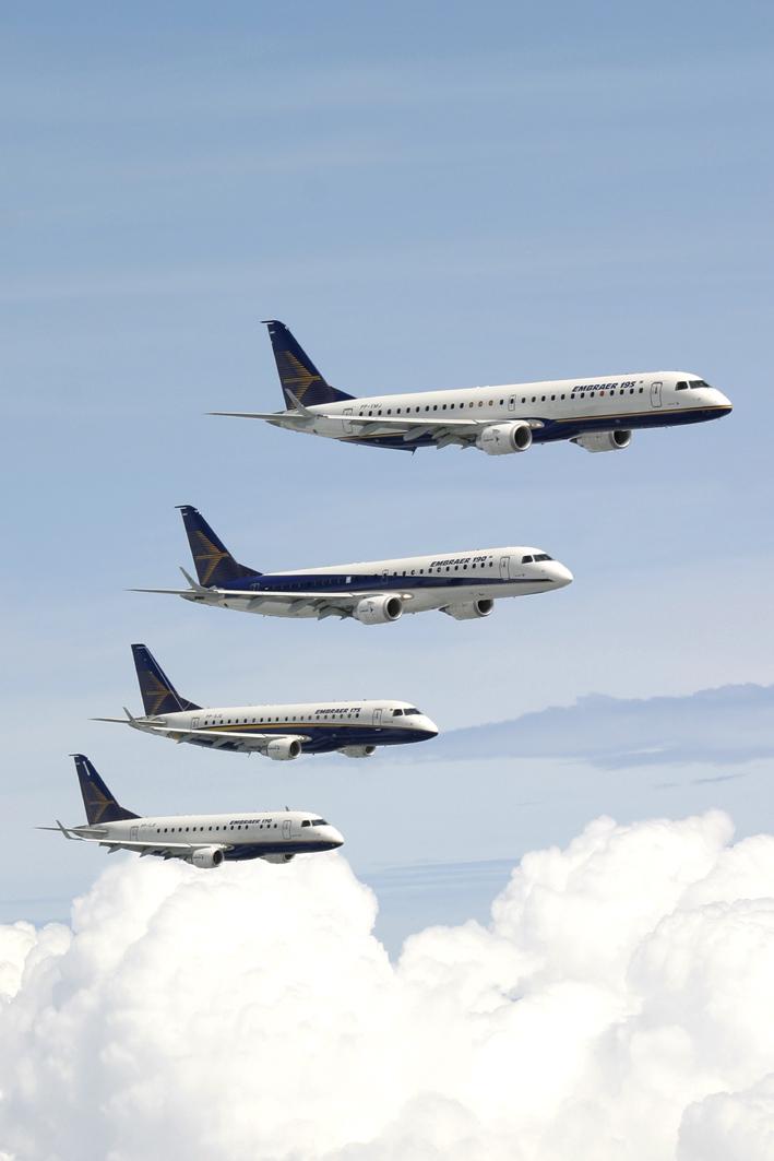 A teljes mai, négytagú E-Jet család. (Fotó: Embraer)   © AIRportal.hu