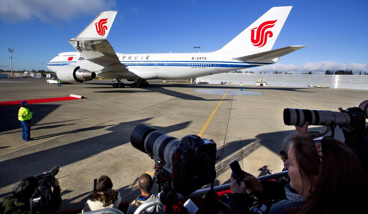 A kínai elnök különgépének érkezése. (Fotó: Mike Siegel - The Seattle Times) | © AIRportal.hu
