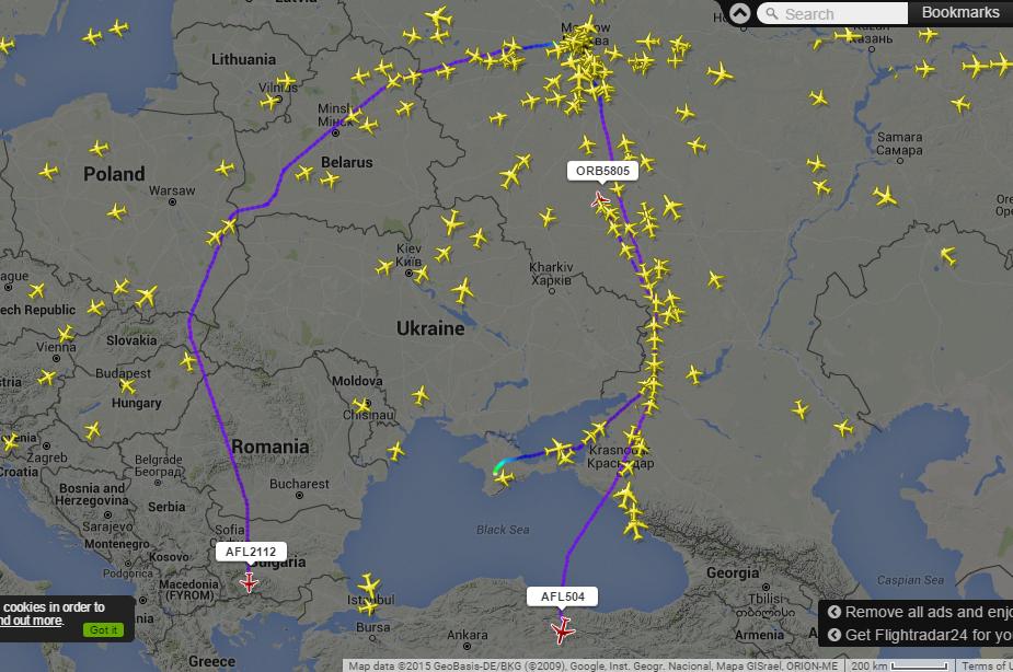 Jól megfigyelhető, hogy az orosz gépek nagy része már kerüli az ukrán légteret. (Forrás: flightradar24.com) | © AIRportal.hu