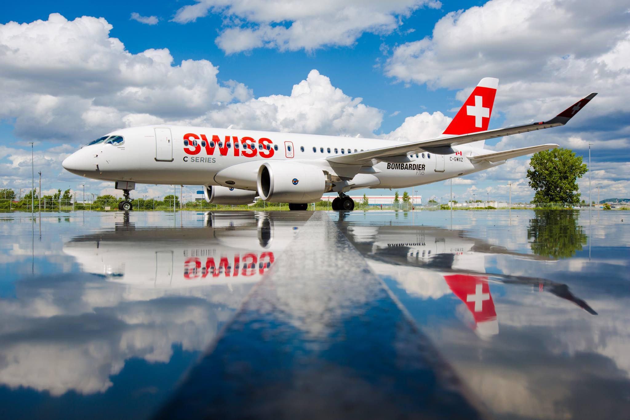 A Bombardier CS100-asa a Swiss színeiben. (Fotó: Bombardier) | © AIRportal.hu