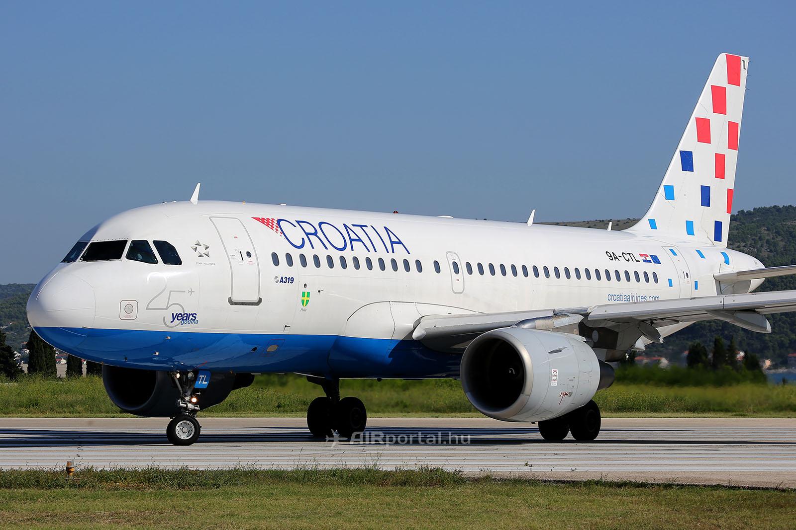 A Croatia Airlines Airbus A319-es repülőgépe. (Fotó: AIRportal.hu) | © AIRportal.hu