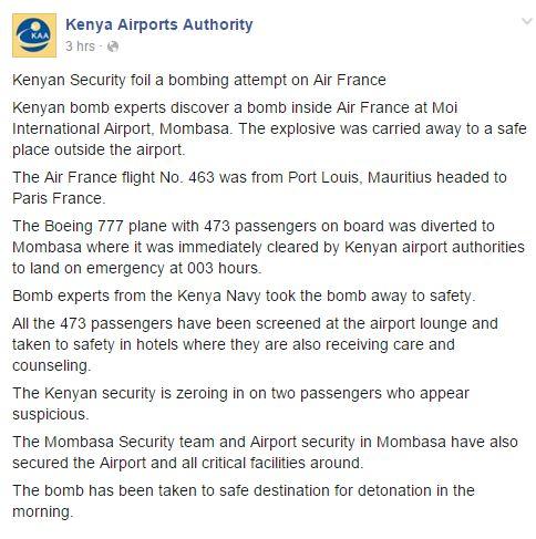 A kenyai repülőtéri hatóság első közlése. (Forrás Facebook) | © AIRportal.hu