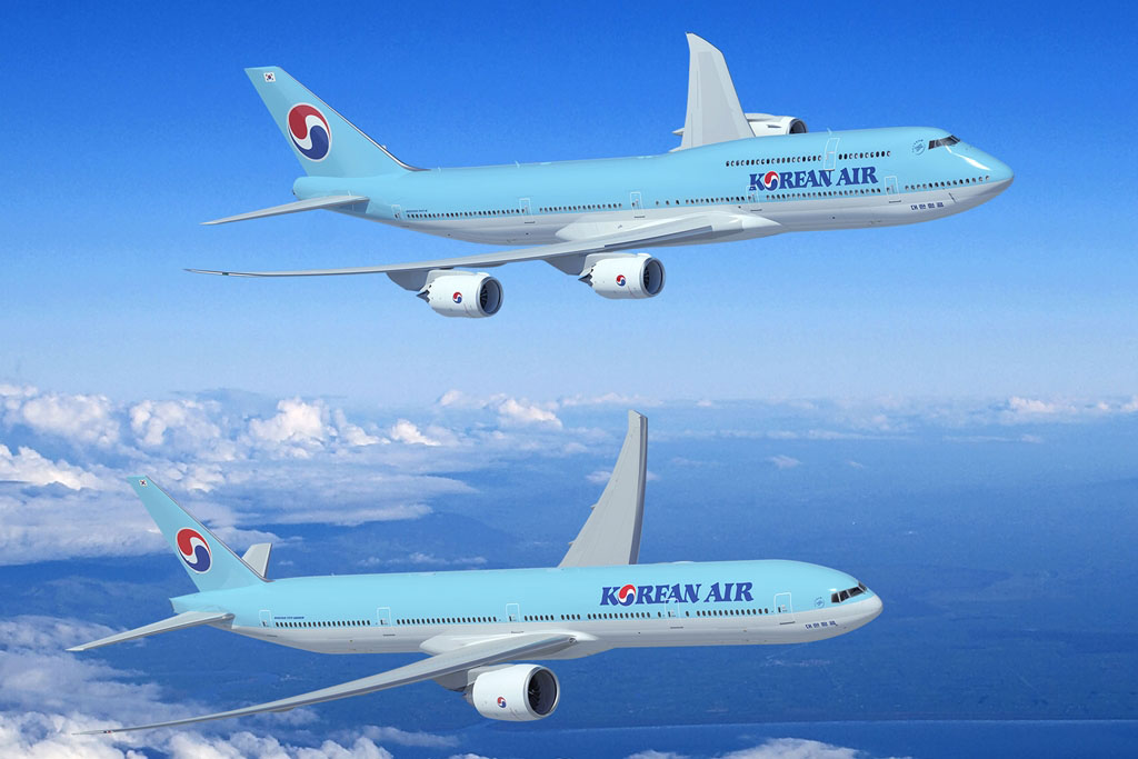 Boeing 747-8I és 777-300ER Korean Air színekben gyártói látványterven. (Forrás: Boeing Company) | © AIRportal.hu