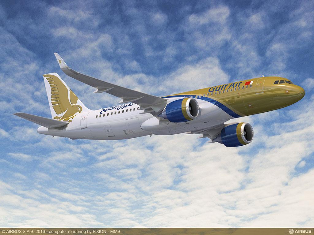 A320neo a Gulf Air festésében. (Grafika: Airbus) | © AIRportal.hu