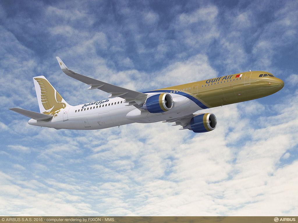 A321neo a Gulf Air festésében. (Grafika: Airbus) | © AIRportal.hu