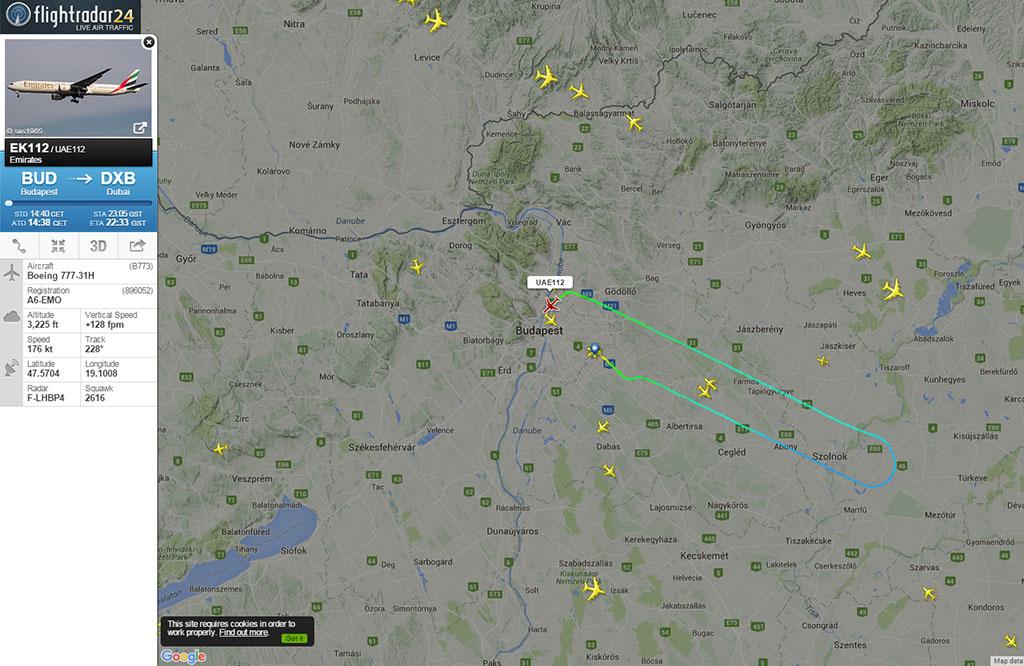 A járat útvonala a flightradar24.com radarképén. | © AIRportal.hu