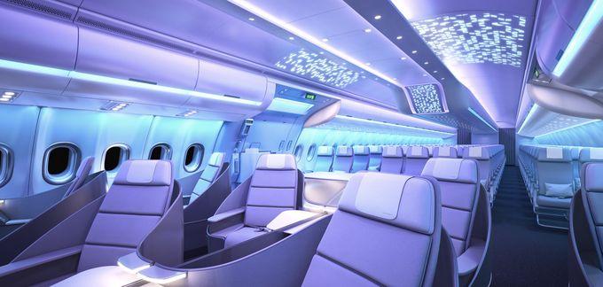 Airspace by Airbus - leegyszerűsített dizájn, hangulatvilágítás, szélesebb székek. (Grafika: Airbus) | © AIRportal.hu