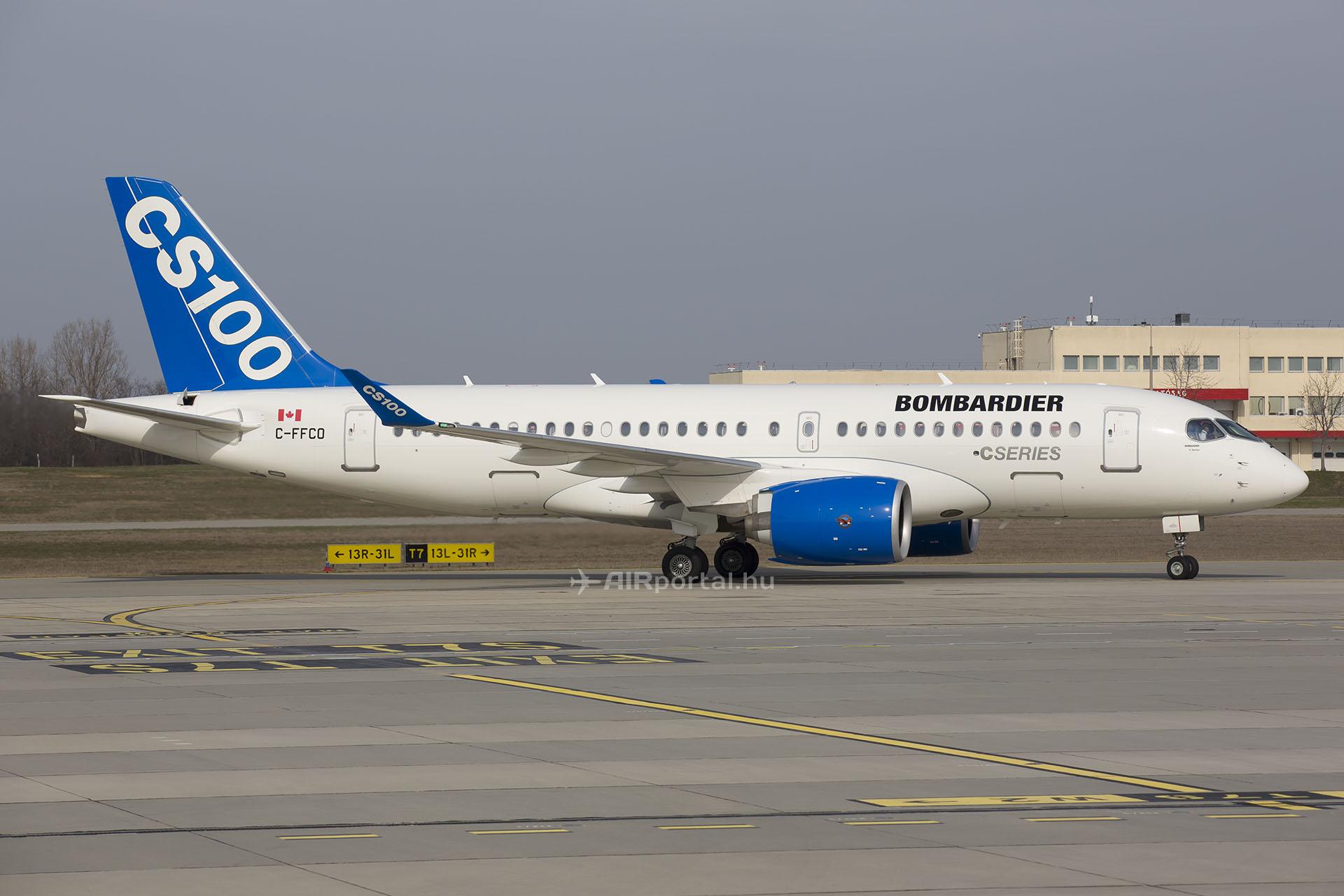 A Bombardier CS100-as március 10-én szállt le először Ferihegyen, akkor a Bombardier szakemberei útvonal-tesztelési program keretében jártak a ferihegyi repülőtéren. (Fotó: AIRportal.hu) | © AIRportal.hu