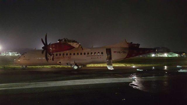 A Trans Nusa ATR 72-600-asa Jakartában a baleset után. Fotó: Twitter | © AIRportal.hu