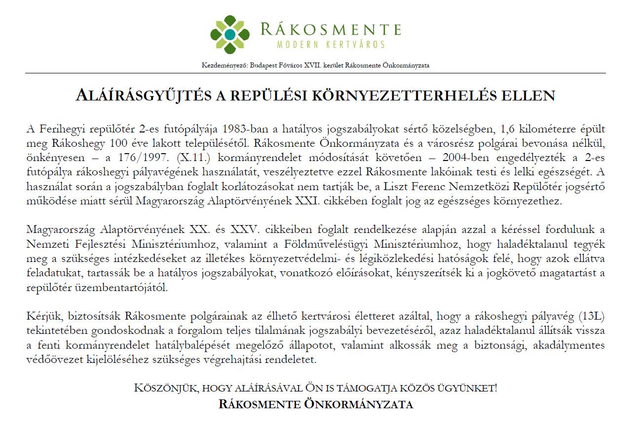 Az önkormányzat aláírás gyűjtési felhívása/képernyőmentés. (Forrás: rakosmente.hu) | © AIRportal.hu
