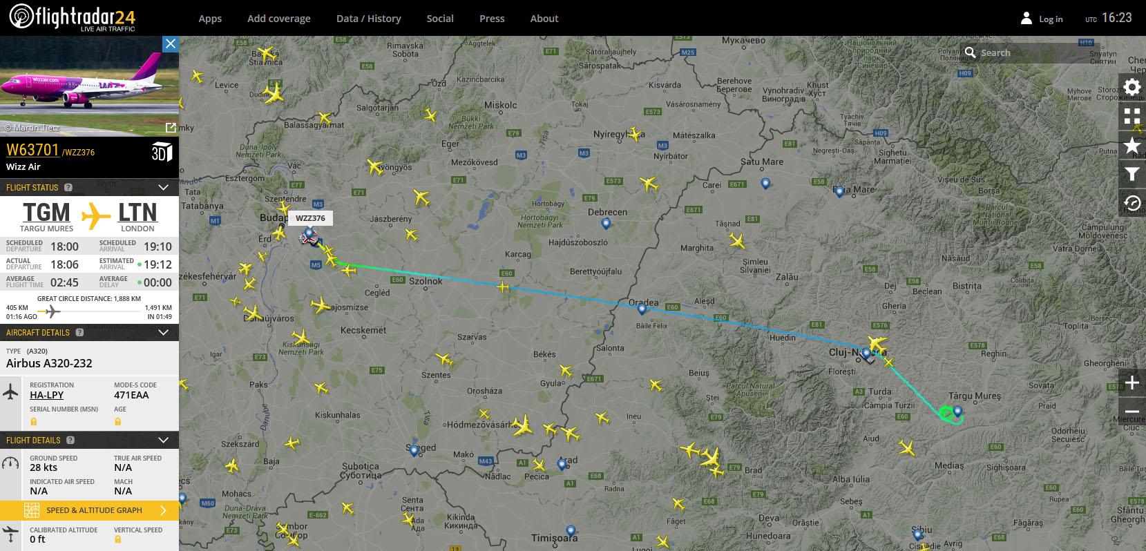 A járat útvonala a Flightradar24.com virtuális radarképén. | © AIRportal.hu