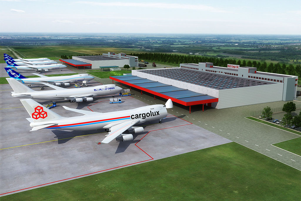 Látványterv a Cargo City nevű légiáru-kicserélő központról, melynek építését eredetileg 2011. szeptemberében tervezete megkezdeni a Budapest Airport. (Forrás: Budapest Airport) | © AIRportal.hu