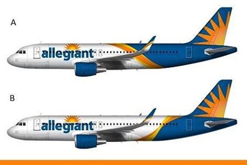 A légitársaság az Airbus-megrendeléssel egyidejűleg szavazást hirdetett arról, hogy hogyan módosítsák gépeik festését, a munkavállalók a fenti két mintából választhatnak. (Forrás: Allegiant Air)   © AIRportal.hu