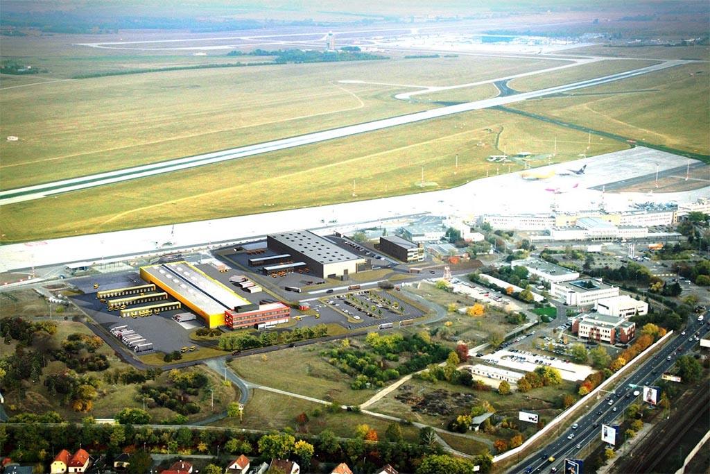 Az új DHL logisztikai bázis az egyes terminál közelében. Itt épül már egy másik logisztikai bázis a TNT számára. (Forrás: Budapest Airport) | © AIRportal.hu