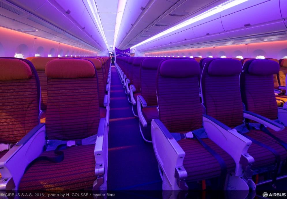 A Thai A350-esének utaskabinja. Fotó: Airbus | © AIRportal.hu