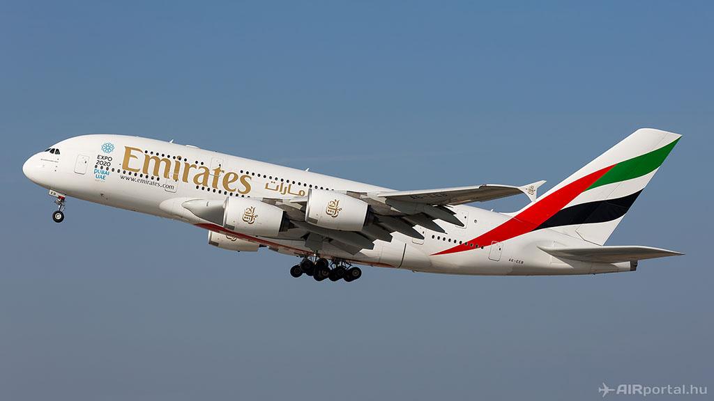 Az Emirates Airbus A380-800-as repülőgépének felszállása. (Fotó: AIRportal.hu) | © AIRportal.hu