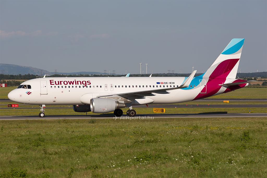 Az Eurowings Europe osztrák lajstromozású A320-as repülőgépe. (Fotó: AIRportal.hu)   © AIRportal.hu