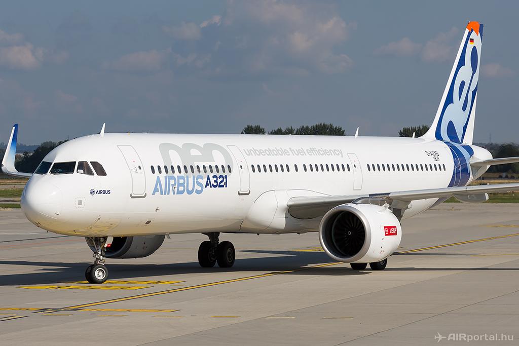 az Airbus A321neo tesztrerpülőgép Budapesten. (Fotó: AIRportal.hu)   © AIRportal.hu