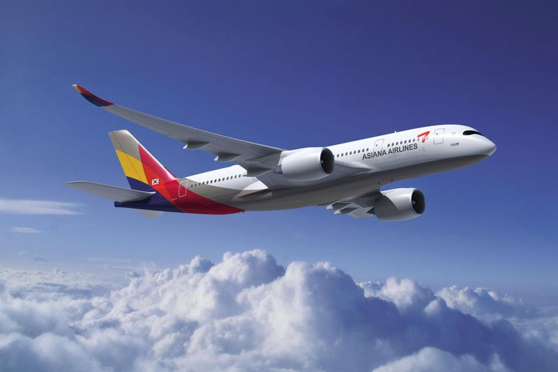 2008-ban készült látványterv az A350-800-asról az Asiana színeiben. (Forrás: Airbus) | © AIRportal.hu