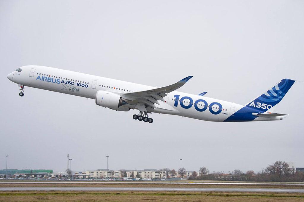 Levegőben az A350-1000 második tesztpéldánya. (Fotó: Airbus)   © AIRportal.hu