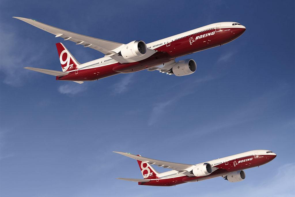 Két változatot jelentettek be eddig az új 777X-ből, a rövidebb, de extra nagy hatótávolságú 8-ast és a hosszabb törzsű 9-est (Grafika: Boeing)   © AIRportal.hu
