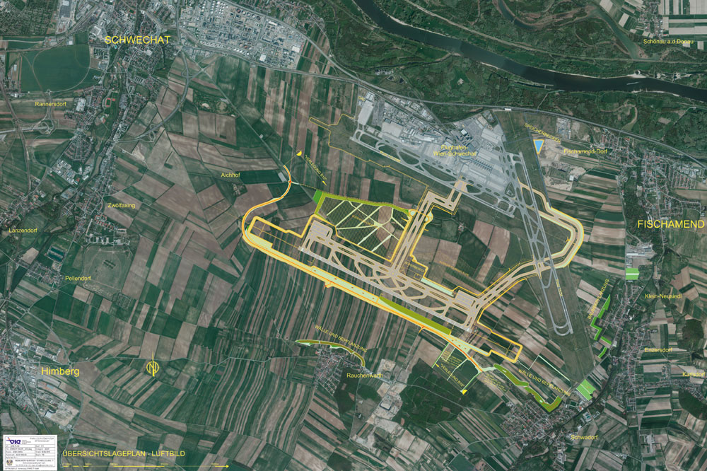 Ilyen lett volna a három futópályás bécsi repülőtér az üzemeltető tervei szerint. (Forrás: Vienna Airport) | © AIRportal.hu