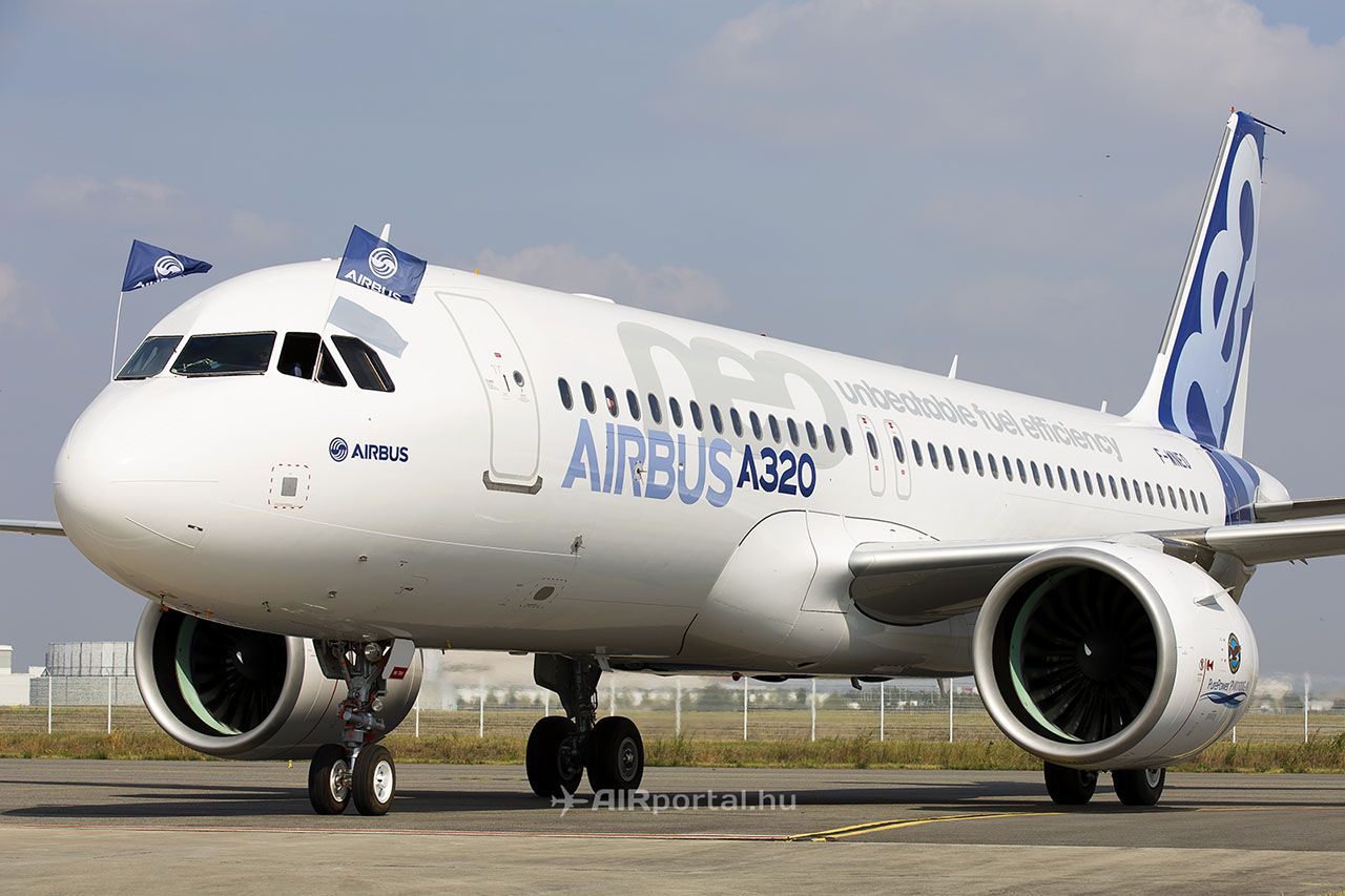 Az első A320neo a sikeres szűzrepülést követően. (Fotó: AIRportal.hu) | © AIRportal.hu