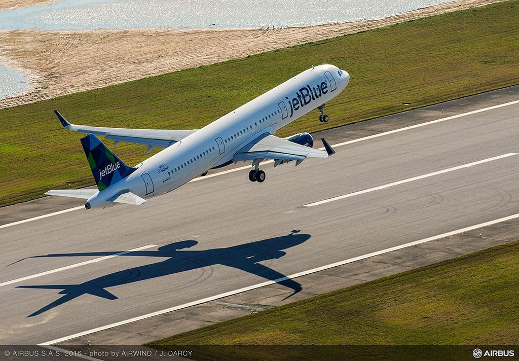 Az első USA-ban gyártott Airbus szűzfelszállása. (Fotó: Airbus) | © AIRportal.hu