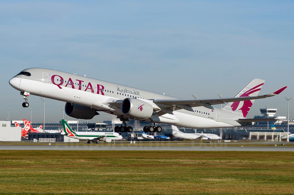 Újabb A350-essel bővült a Qatar Airways flottája. képünkön még egy korábbi példány látható felszállás közben Münchenben. (Fotó: AIRportal.hu) | © AIRportal.hu