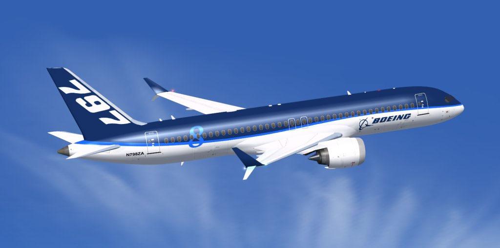 illusztráció: Internetes fantáziarajz a Boeing 797-es típusról, mely a mostani elszólások szerint a 757-essel ellentétben nem egyfolyosós lenne, hanem egy rövid szélestörzsű, kétfolyosós gép. Az új, middle-of-the-market típus iránt az interkontinentális járatok felé egyre inkább kacsintgató low-cost légitársaságok is fokozottan érdeklődnek. (A fantáziarajz nem a Boeingtól származik, forrás ismeretlen.) | © AIRportal.hu