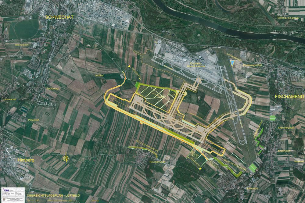 Megalomán tervnek tűnik a műholdképen három futópályás bécsi repülőtér. (Forrás: Vienna Airport) | © AIRportal.hu