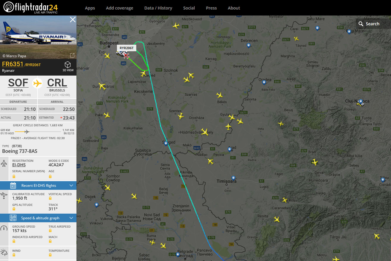 A járat útvonala a flightradar24 radarképén. | © AIRportal.hu