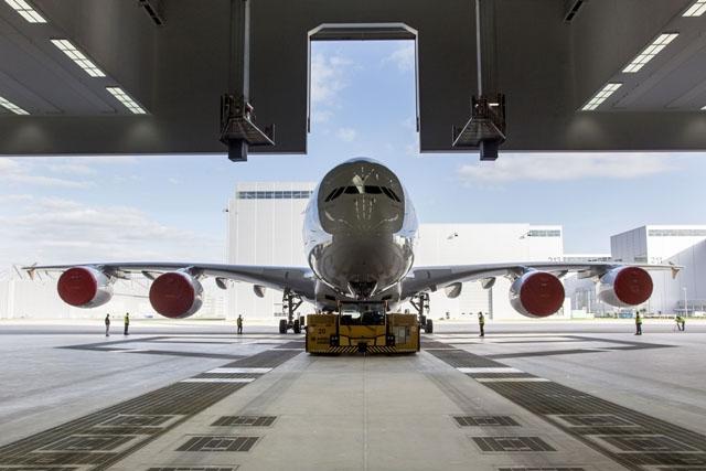 Az Airbus A380-asa a cég Toulouse-i gyárában. (Fotó: Airbus Industries)   © AIRportal.hu