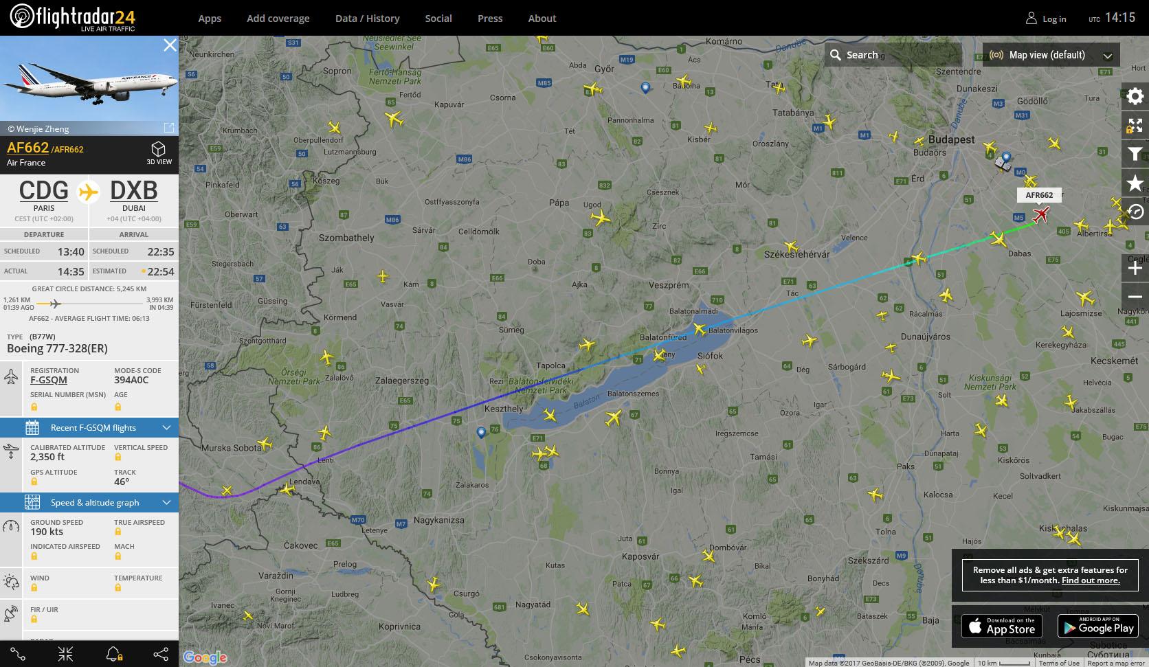 A járat útvonala a flightradar radarképén.   © AIRportal.hu
