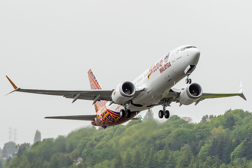 A világ első Boeing 737 MAX-ának felszállása a Malindo Air színeiben Seattle-ből. (Fotó: Boeing Company) | © AIRportal.hu
