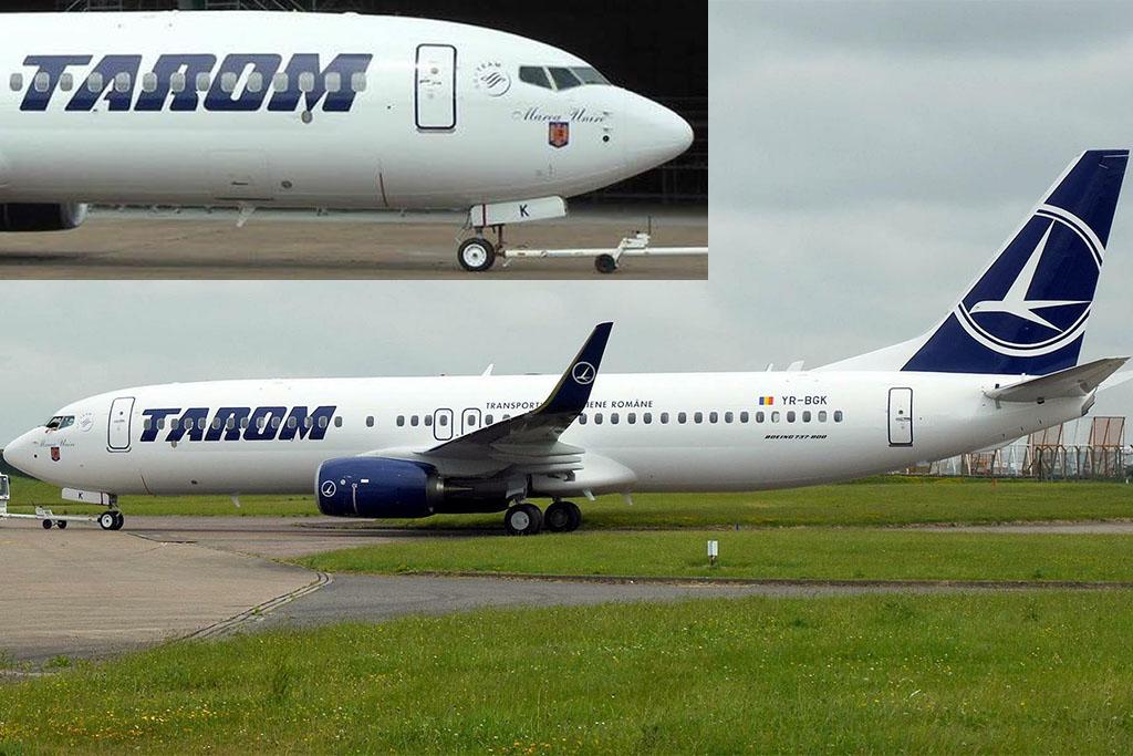 A repülőgépet időközben már át is festették a Tarom arculatába, a Boeing 737-es orrára jól láthatóan felkerült a Marea Unire név és a román címer. (Fotó: Peter Bowler/Facebook)   © AIRportal.hu