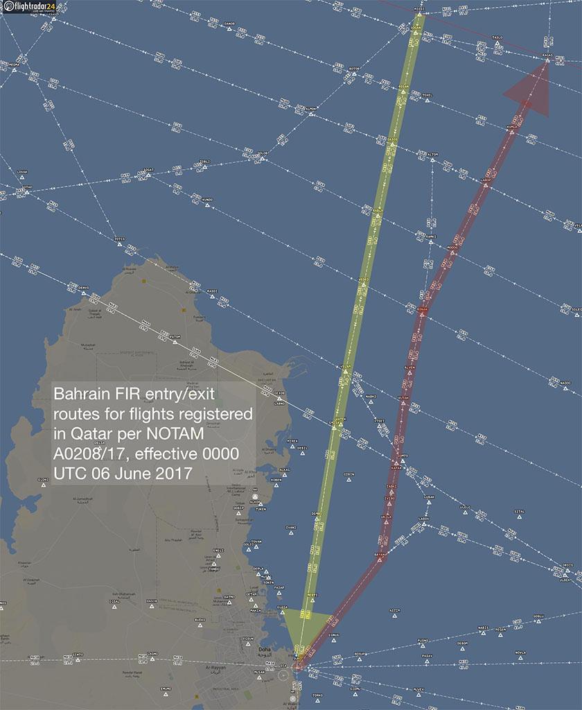 A katari lajstromozású repülőgépek csak egy belépő és egy kilépő ponton keresztül közlekedhetnek. (Ábra: Flightradar24.com) | © AIRportal.hu