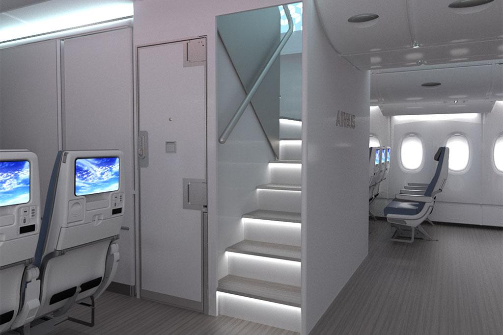Az első ajtótól a másodikhoz helyezett, kisebb lépcsők (Grafika: Airbus) | © AIRportal.hu