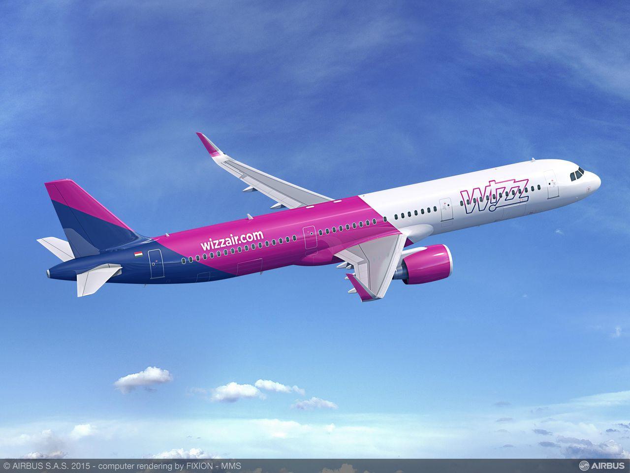 A321neo a Wizz Air színeiben az eredeti ajtókiosztással. (Forrás: Airbus) | © AIRportal.hu