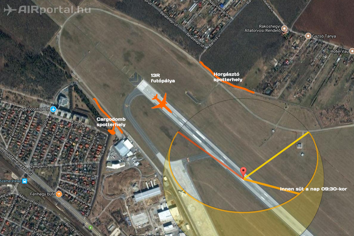 Forrás: Google Maps, Suncalc, AIRportal.hu | © AIRportal.hu