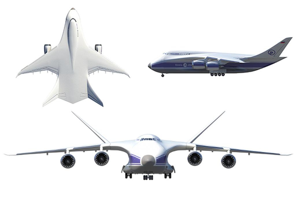 A tervek kiforratlanságára utal, hogy a felülnézeti grafikán két, míg a többi látványterven négy hajtóművel ábrázolják a típust. (Forrás: Volga-Dnepr via Russian Aiviation Insider) | © AIRportal.hu