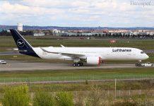 8fd7edd6655f Így fest a Lufthansa első új arculatba öltöztetett A350-ese