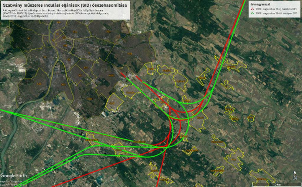 A budapesti repülőtérről felszálló repülőgépek indulási eljárásai 31-es irány esetén, 2018.augusztus 16-tól. A piros vonalak a régi, a zöld vonalak az új eljárások szerinti útvonalakat mutatják. (Forrás: HungaroControl Zrt.)