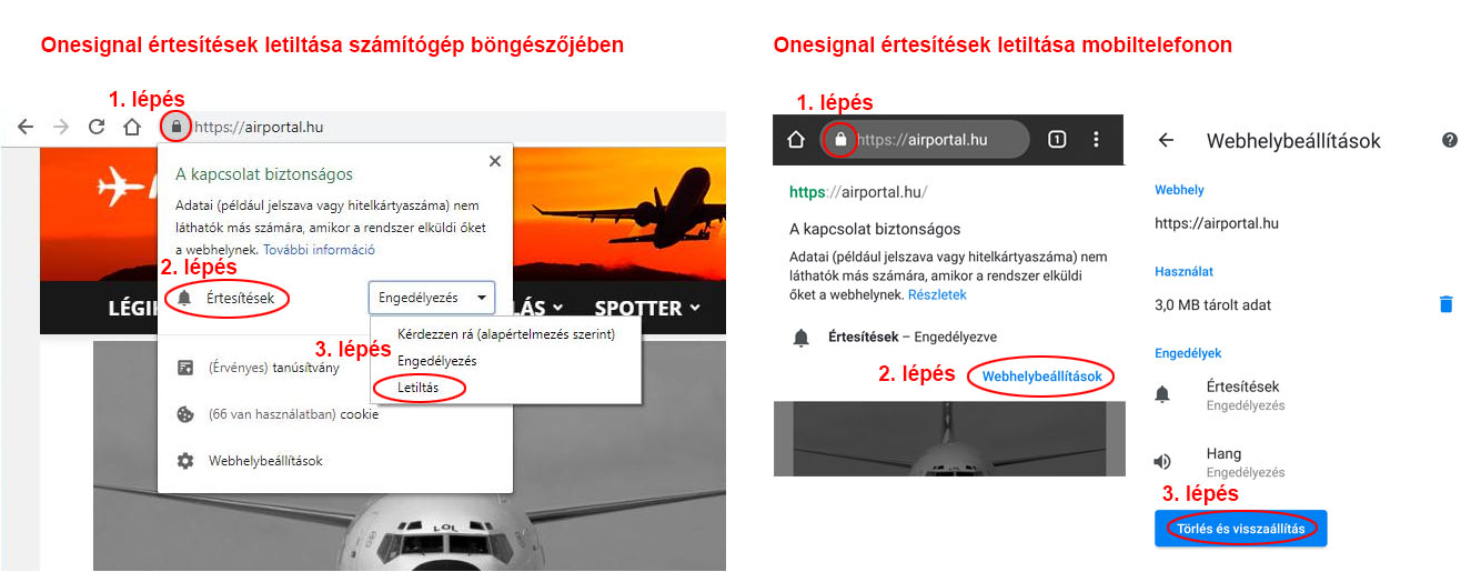 OneSignal webes értesítések kikapcsolása számítógépen és mobiltelefonon
